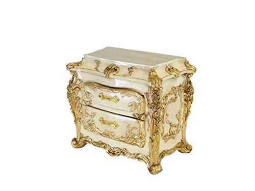 Antike Fundgrube Schmuckkästchen im Barock Stil cremeweiß Gold | Schatulle Schmuckkasten Barock Mini-Kommode | 2 Schubladen | B: 24 cm (9718)