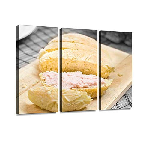 BELISIIS spreadable mortadella Bologna Pink Mousse on Bread Slices Food Black Wall Artwork Exclusive Photography Vintage Paintings Print on Canvas Home Decor Wall Art 3 Panels Framed Ready to Hang