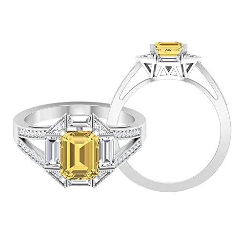 Anillo de compromiso citrino de 2,75 quilates con efecto moissanita, anillo de oro milgrain (citrino de 6 x 8 mm), oro blanco de 14 quilates, tamaño: UK P1/2