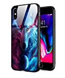 Tempered Glass Case for iPhone XR,Slim Fit Tempered Glass Back for Girl Women+Soft Silicone TPU Shock Absorption Bumper Protective Case for iPhone XR 6.1 inch (2018 Release) Wolf Bilateral