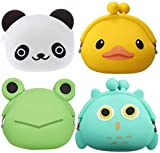 SUSHAFEN 4 Pcs Cartoon Silicone Coin Wallets Coin Purse Headset Bag Cartoon Animal Wallet Waterproofing Coin Silicone Bag Novelty Toy School Prize Gifts Children Goodie Bag Filler