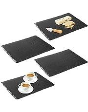 mDesign Juego de 4 Platos de Pizarra – Preciosa Tabla de quesos, también útil para Embutidos, Tartas, Aperitivos, etc. – También Sirve como Pizarra de Tiza para menús o anuncios – Negro