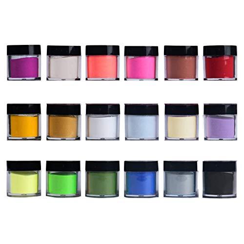 Zeemuuloo 18 Boxes Pigment Nail Powder Acrylic Powder Set UV Gel Powder...