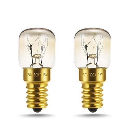 LOHAS 15W E14 Backofenlampe, Warmweiß, Dimmbar, Bis 300°C Hitzebeständiges, fur Ofen, Nähmaschinen, Mikrowellenlampe, Dekorative Lampe, Edison Screw Base, 360 Grad Abstrahlwinkel, 220-240V, 2er Pack