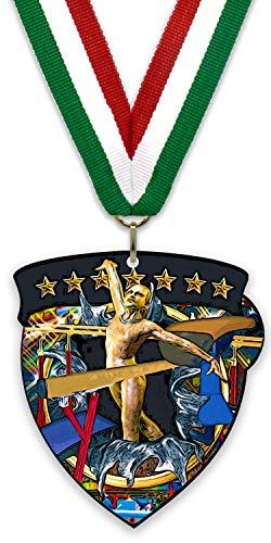 Medalla/Imán Grande de Metal - Gimnasia Femenina - Fabricadas de Acero Acabado en Negro - con Cinta Incluida a Elegir y Reverso Recubierto por un Potente Imán. (Verde-Blanco-Rojo)
