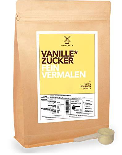 Vanille-Zucker-Bourbon 1800g mit echter Madagaskar Vanilleschote zum backen kochen süßen inkl Dosierlöffel
