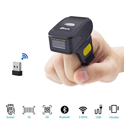 Alacrity Portable 1D and 2D Bluetooth Barcode Scanner,Handheld Mini Wearable Ring Wireless Barcode Reader for Windows,Android,iOS,Mac.Able to Scan Codes on Screen