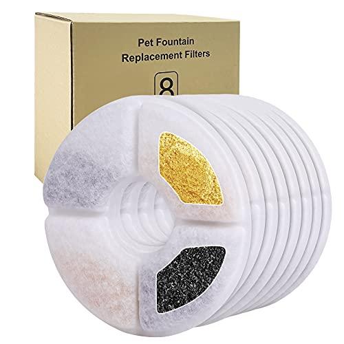 Bigqin Filtro per fontana per gatti, filtri di ricambio per fontana con resina e carbone attivo, filtro per fontana per cani e gatti(8 Pezzi)