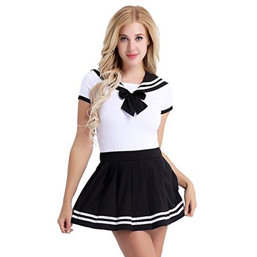 iiniim Sexy Disfraz Escolar Mujer Lencería Ropa Erótica Conjunto Colegiala Estudiante Camisa Corta + Mini Falda Plisada Cosplay Picardias Escolar Uniforme Rosa L