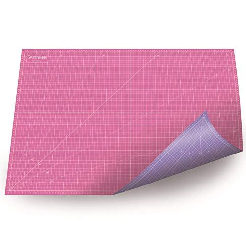 Paillerpüppi Tapis de découpe A1 (90 x 60 cm) auto-cicatrisant et imprimé des deux côtés Rose/violet