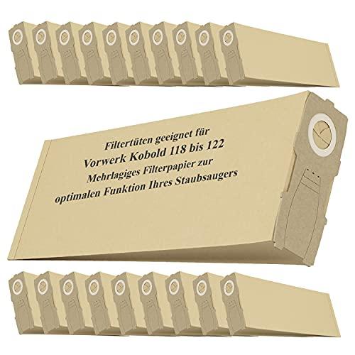 20 bolsas de repuesto para aspiradora Vorwerk Kobold VK118, VK119, VK120, VK121 y VK122