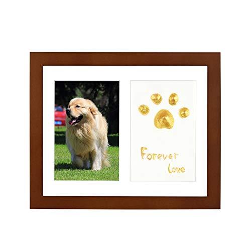 ONE WALL Onewall Bilderrahmen Pfotenabdruck Set Fußabdruck Abdruck 10 x 15 cm Fotorahmen für Hund Katze Haustier Andenken, Kaffeebraun