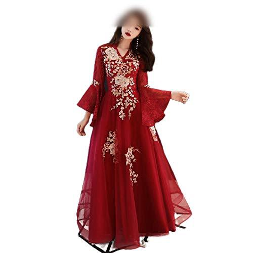 Qipao Orientalisches Brautkleid für Hochzeit, Abendgesellschaft, chinesische traditionelle Stickerei, weiblich, Cheongsam-Spitze, Bodenlanges Netzkleid Gr. XX-Large, Stil 1