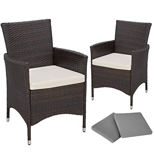 TecTake 2x Chaise de jardin en poly rotin résine tressé cardre en ALUMINIUM + coussin + deux set de housses, vis en acier inoxydable - diverses couleurs au choix - (Noir/Marron)