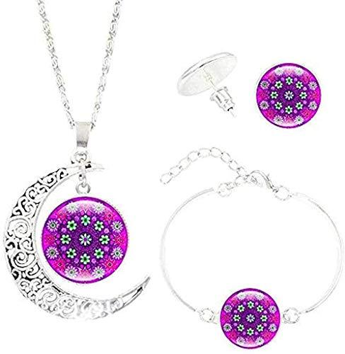 DUEJJH Co.,ltd Collar Mandala Bohemio Collar de Flores Pulsera Pendientes Conjuntos de Joyas Gema Luna Colgante Joyas de Yoga