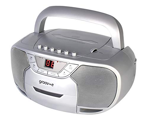Groov-e Classic Boombox Portable CD Player with Cassette & Radio, Classic...