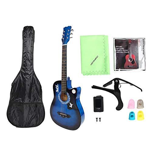 Dilwe Hochwertige Folk-Gitarre, Tragbare Basswood Gitarre Dreadnought Cutaway Guitar Tuner Picks Tasche Set für Kinder Erwachsene