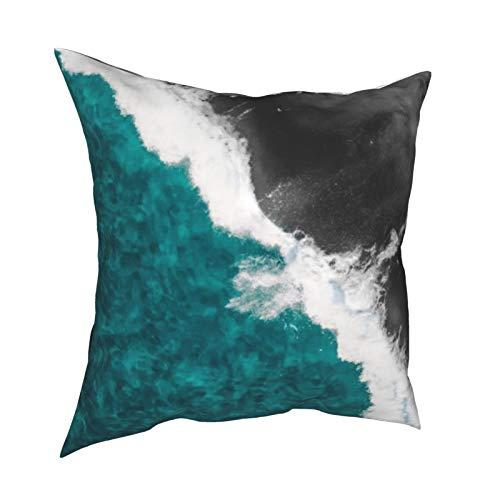 Funda de cojín moderna y azul turquesa y negro con diseño de olas de playa y océano, decoración diaria con cremallera, funda de almohada lumbar para regalo en casa, sofá, cama, coche, 45,72 x 45,72 cm