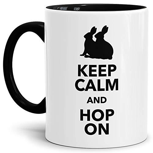 Tassendruck Oster-Tasse Keep Calm Innen & Henkel Schwarz/Ostern/Witzig/Lustig/Tasse mit Spruch/Schön/Kaffeetasse/Oster-Geschenk/Beste Qualität - 25 Jahre Erfahrung