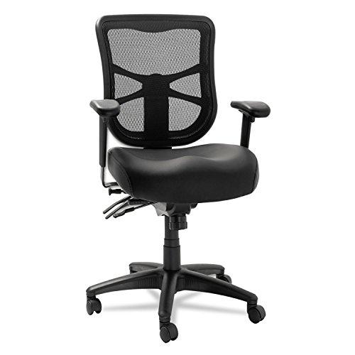 Alera EL4215 Elusion Series Mesh Mid-Back Multifunction Chair, Black Leather