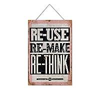 再利用再利用再考再考木製のリストプラーク木の看板ぶら下げ木製絵画パーソナライズされた広告ヴィンテージウォールサイン装飾ポスターアートサイン