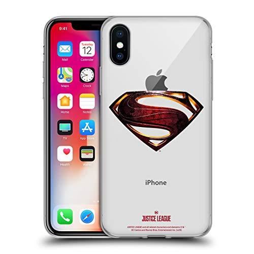 Head Case Designs Licenza Ufficiale Justice League Movie Superman Logos Cover in Morbido Gel Compatibile con Apple iPhone X/iPhone XS