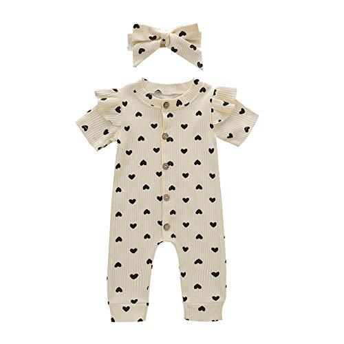 milkcha Toddler Romper,Infant Baby Girls Valentine's Day Hearts Print Ruffles Romper Jumpsuit+Headbands