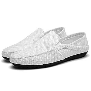 [toasoa] トーアソーア スリッポン メンズ かかとが踏める スニーカー サンダル 人気 白色 軽量 デッキシューズ おしゃれ かっこいい 通気性 歩きやすい 幅広 厚底 キャンバス カジュアル かかとなし (42-26.0cm, 白)