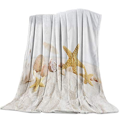 Sweet Comfort Dream Starfish Shell Beach Landscape Flannel Fleece Blankets Luxury Couch Cover Blanket Ocean Soft Lightweight Plush Throw Blankets for Couch/Chair/Bedroom All Season, 50x80 inches