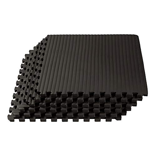We Sell Mats 3/4 Inch Thick Martial Arts EVA Foam Exercise Mat, Tatami Pattern, Interlocking Floor Tiles for Home Gym, MMA, Anti-Fatigue Mats, 24 in x 24 in, Black, 24 Square Feet (6 Tiles) (TM)