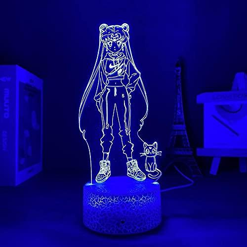 Lámpara de ilusión 3D con luz LED de noche Sailor Moon USB decorativa para interiores ideal para un cuarto de niños, cumpleaños, base de grietas, con mando a distancia
