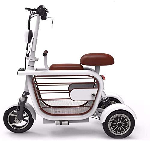 CYGGL 3-Rad-Elektroroller, Elektroradrad für Erwachsene, mit Kindersitz mit Diebstahlalarm und doppelter Stoßdämpfung, maximale Belastung 140 kg White