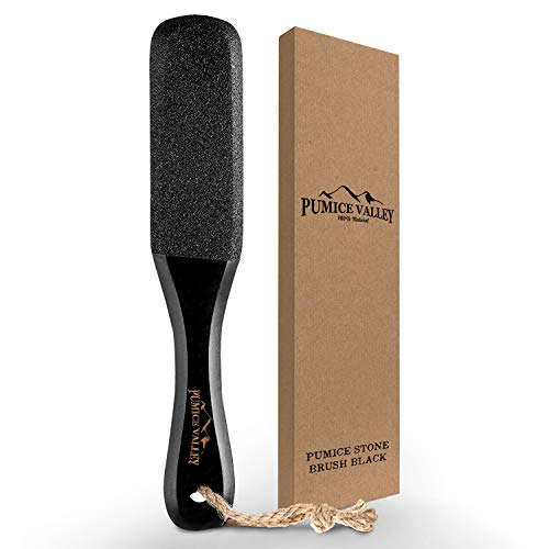 Pumice Stone Foot Scrubber - Pedicure Foot File with Handle for Dry Dead Skin - Callus Remover for Feet - Foot Scraper - Exfoliating Brush for Heels, Elbows, Hands