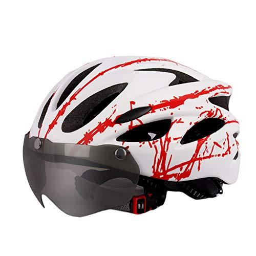 fuchsiaan Casco De Bicicleta Unisex para Adultos con Gafas para Deportes Al...