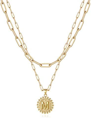 Yoosteel Gold Initial Necklaces for Women Girls 14K Gold Plated Layering Paperclip Link Chain product image
