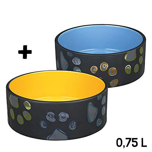 Keramiknäpfe Set 0,75 l blau und orange Hundenapf - So schön können Hundenäpfe Sein!