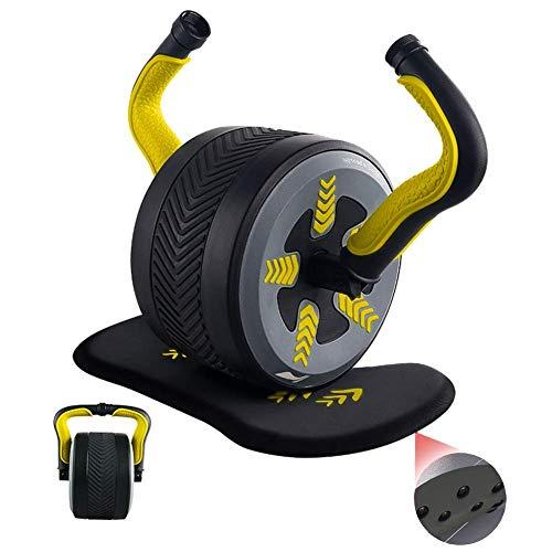 XHCP Kettlebells Out Fitness Wheel/Kettlebell 3 kg, mit weichen Knieschützern zum Schutz des Knies vor Verletzungen, Home Silent Rolling Design trainiert Kernmuskeln, 4 Farben (Farbe: Gelb)