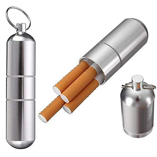 Schlüsselanhänger Zigarettenetui (2 Stücke), Zigarettenetui Mini Aluminium Schlüsselanhänger für Herren Frauen wasserdichte Runde Zigaretten Taschen Box