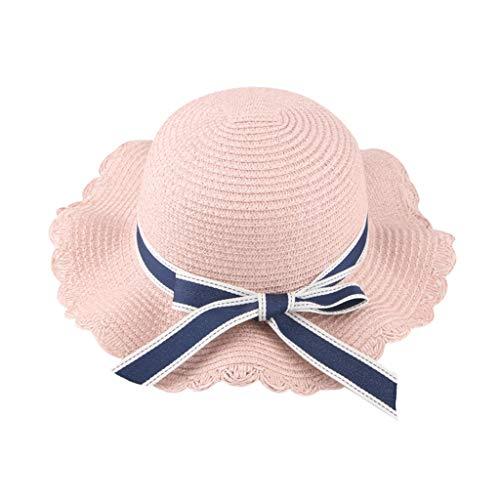 Chapeau de paille en dentelle ondée pour enfants,Ewendy Chapeau de pêcheur Chapeau Respirant Pliable pour 2-8 ans bébé enfants