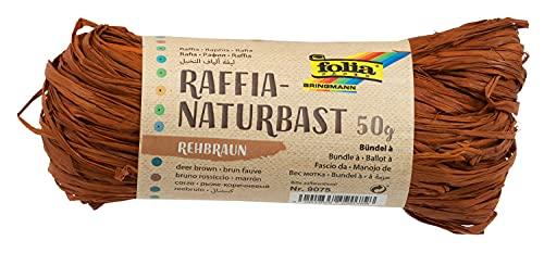 folia 9075 - Raffia Naturbast rehbraun, 1 Bündel mit 50 g, Schnur aus natürlichem Strohgemisch, ideal zum Basteln, zur Dekoration oder für Gestecke, Sträuße und andere floristische Arbeiten