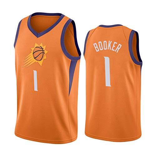 XHDH Uniforme de Baloncesto para Hombre, NBA Suns # 1 Booker Jersey, poliéster Transpirable Bordado Malla de Baloncesto Camiseta Unisex Deportes al Aire Libre,Naranja,L 175~180cm