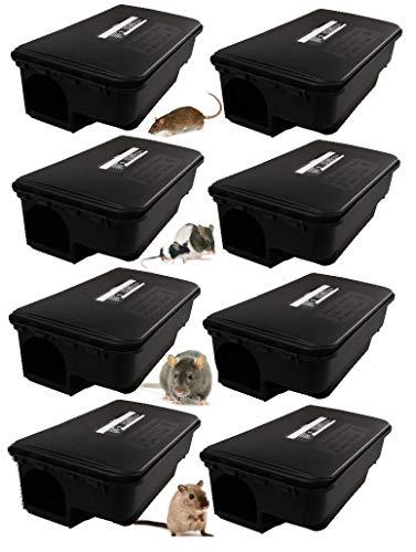 Maisange Lot de 8 boites appât a Rats et Souris - Parfaitement adapté pour Une Lutte Contre Les rongeurs - CARSBL90B