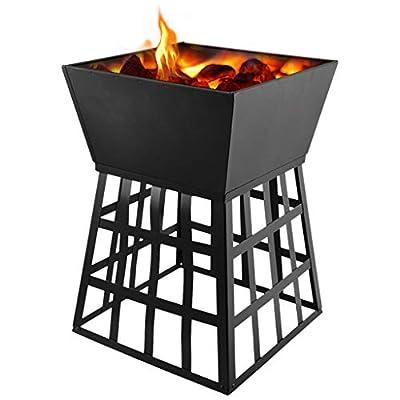 Kekison Square Fire Pit Outdoor Log Patio Garden Charcoal Burner Brazier Durability Rustproof Bowl Bonfire UK BBQ Camping Patio Heater from