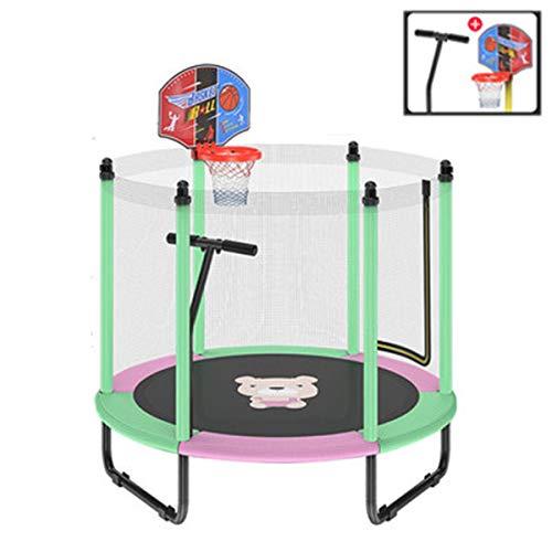 Mini-Trampolines Voor Binnen - Stomme Trampoline Voor Kinderen Met Veiligheidsnet, Basketbalring En Leuning Kunnen 250 Kg Dragen, Goede Cadeaus Voor Kinderen,Green