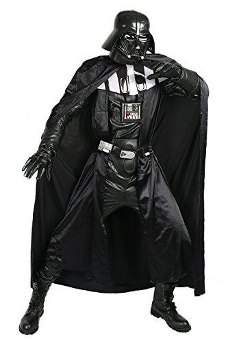 Nexthops Darth Vader Costume Carnevale Cosplay Tutto Nero Satin+Pelle+PVC Full Suit 8PZ Accessorio Natale Pasqua Halloween Coll Supereroe per Uomo Donna Adulti 3XL