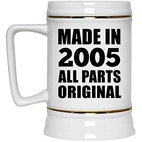 16th Birthday Made in 2005 All Parts Original - Beer Stein Jarra de Cerveza, de Cerámica - Regalo para Cumpleaños, Aniversario, Día de Navidad o Día de Acción de Gracias