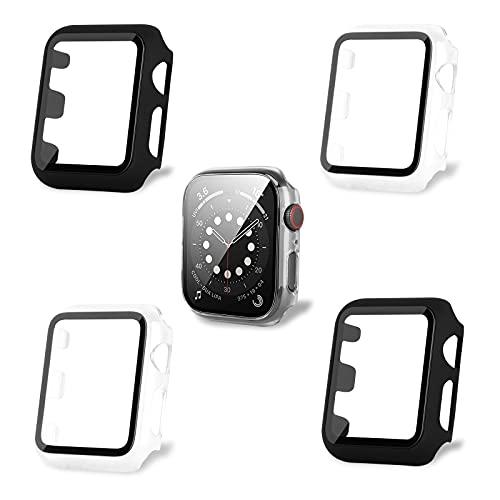 AOTUAO Funda Compatible con Apple Watch Serie 3 2 1 38mm, Estuche Rígido Delgado PC Protector de Pantalla Cristal Templado para iWatch, 4Piezas Negro Negro Clear Clear