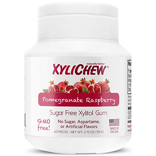 Xylichew 100% Xylitol Chewing Gum - Non GMO, Non Aspartame, Gluten Free, and Sugar Free Gum - Natural Oral Care, Relieves Bad Breath and Dry Mouth - Pomegranate Raspberry, 60 Count