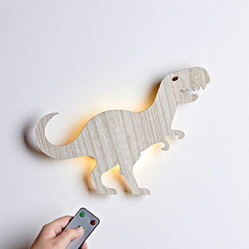 Lights4fun Holz T-Rex LED Nachtlicht Wandlicht mit Fernbedienung und Timer