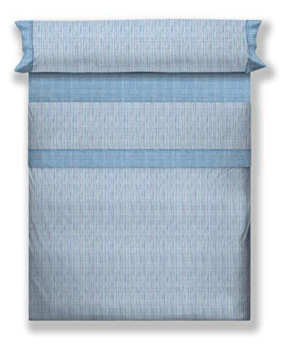 DON ALGODÓN Juego de Sábanas Roqueta, Azul, 150 Cm